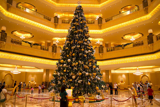 Emirates palace Christmas tree in the lobby of a hotel