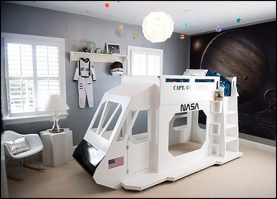 NASA and space themed bedroom with space wall art and space shuttle themed bunk bed