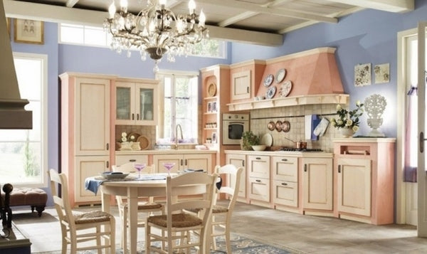 Shabby Chic Kitchen Decor Pastel Colors Pink Blue Chandelier Wooden Table