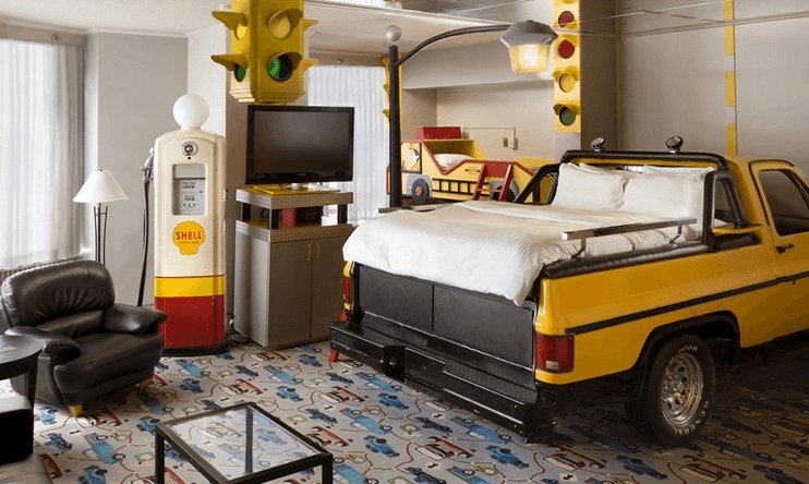 Truck, car and petrol pump child bedroom