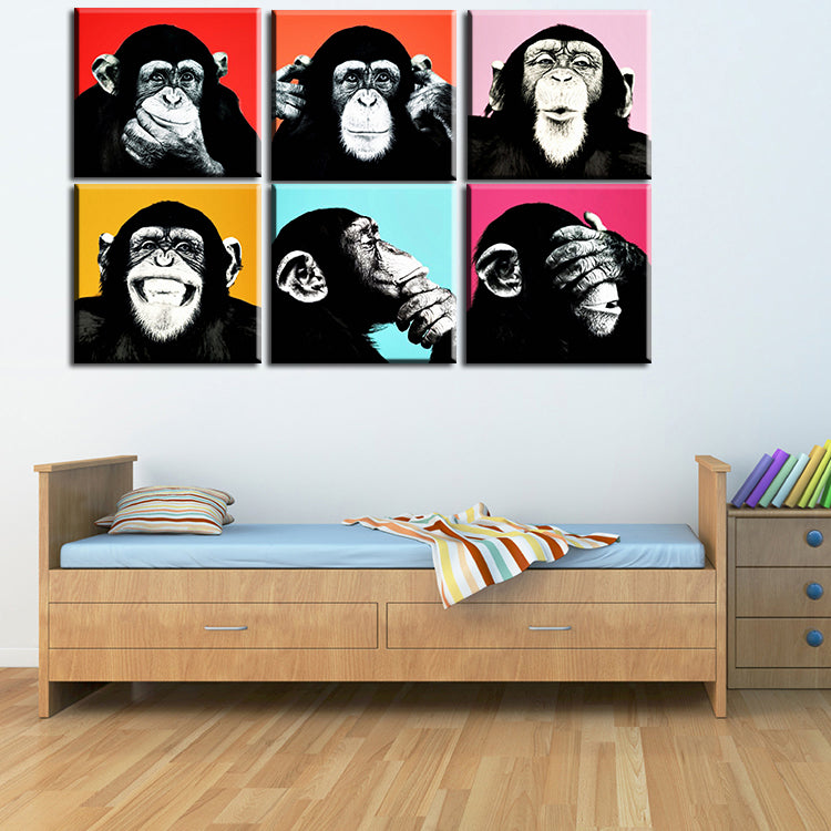 Coloured pop art of a chimpanzee with six different background colours