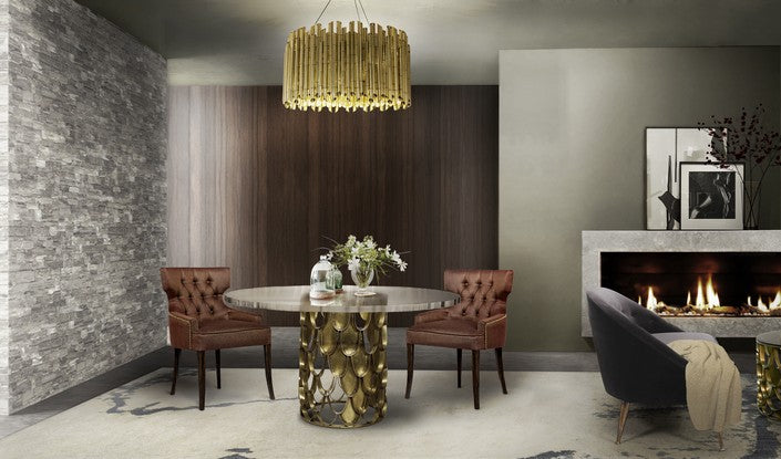 Elegant Sixties Style Living Space With Gold Accents And Accessories