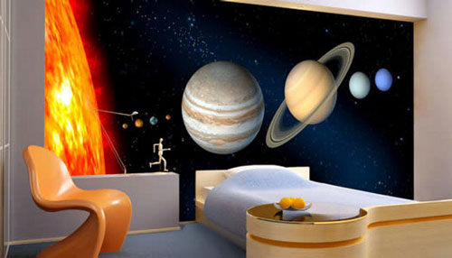 Full wall bedroom decal of the sun and our solar system