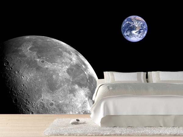 Beaufiul wall decal of the moon and Earth, floating in the black void of space