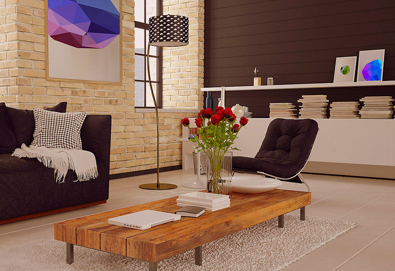 Low Wooden Coffee Table In A Funky Living Space