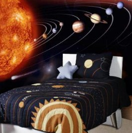 Solar system bedroom full wall decal in a kids bedroom