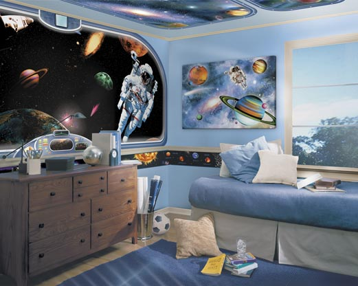 Light blue bedroom with astronaut and outer space wall art-decal