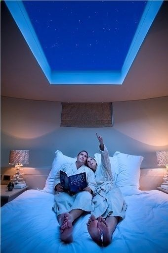 A couple on a bed looking up through a skylight at a dark blue night sky with stars