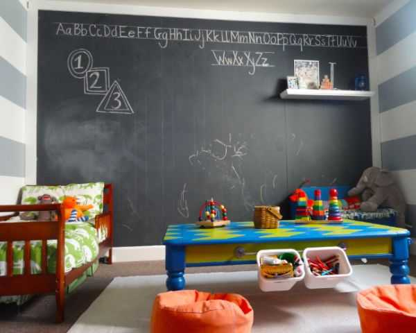 Black chalkboard in a kids bedroom