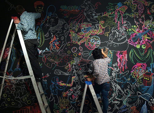 Amazing artwork in chalk on a full wall chalkboard