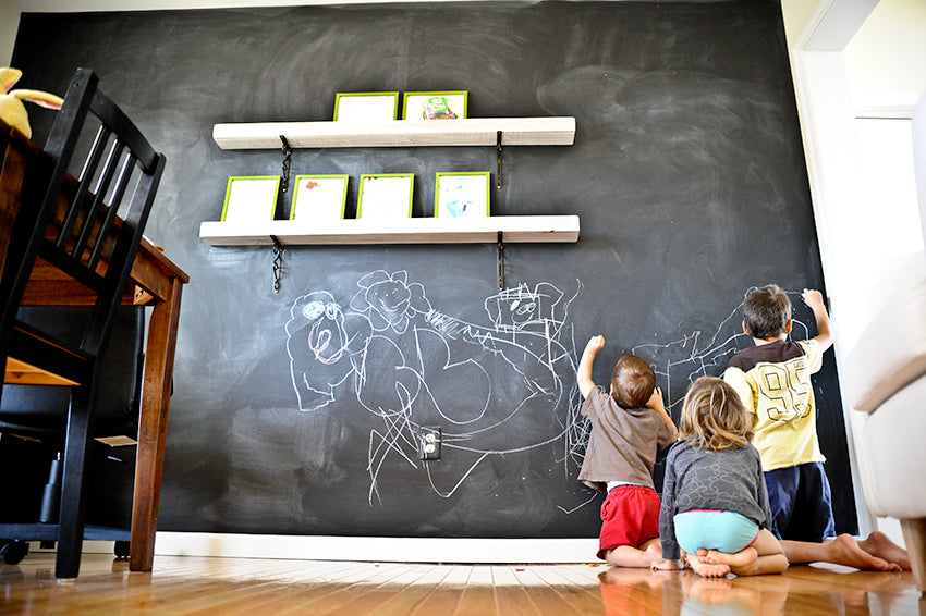 Chalkboard wall for kids in a dining room