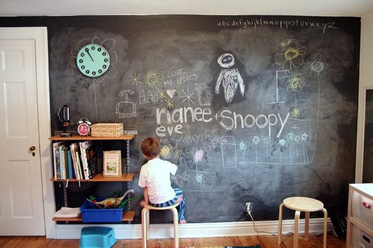 Kids chalk wall in bedroom