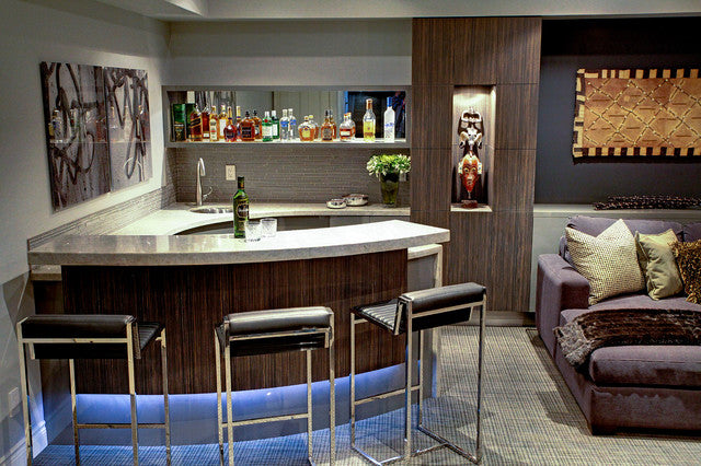 contemporary home theatre with drinks bar and bar stools