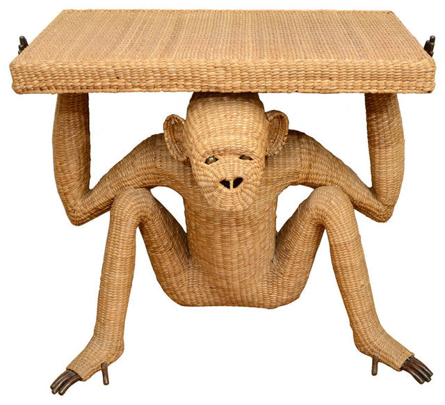 Woven table held up by a woven monkey