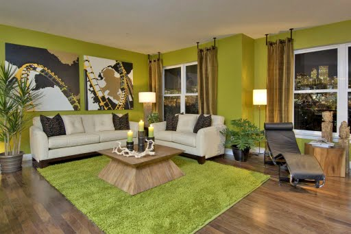 Lime Green Living Room With Touched Of Gold And Black As Accent Colours