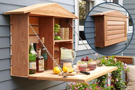 Outdoor garden drinks bar