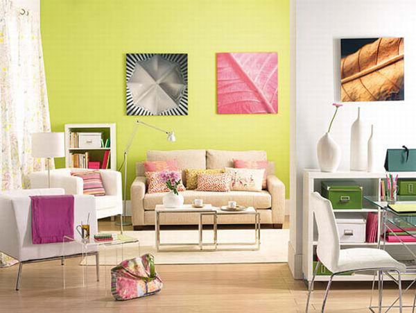 Colorful living room with light green wall and hints of pink, cream and beige