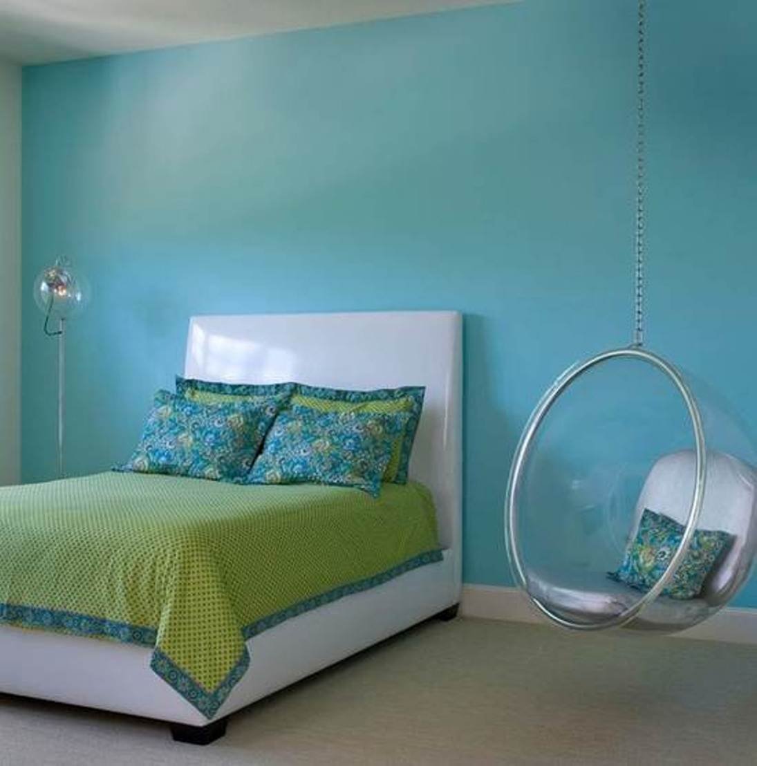 Contemporary-Hanging-Chair-for-Bedroom-with-Light-Blue-Color-Wall-Paint-and-Minimalist-Bed