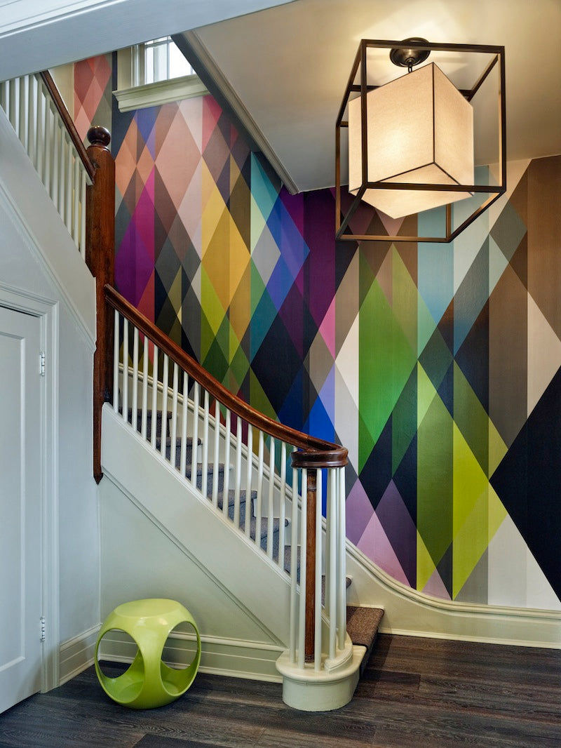 Hallway geometric wallpaper