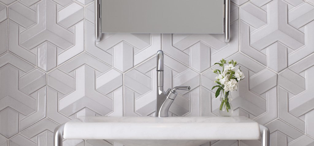 Geometric Textured bathroom tiles