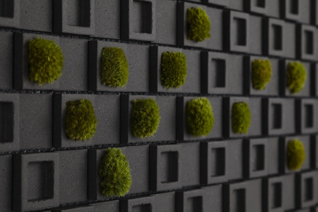 Black concave cube style tiles, with every other tile containing green moss