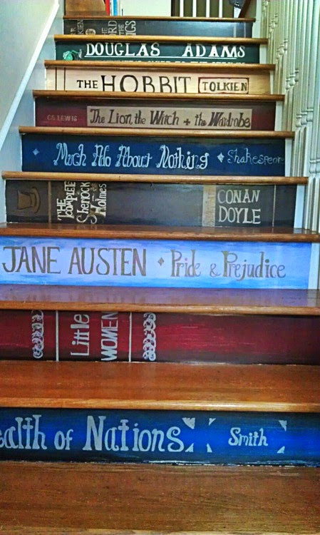 Staircase with the front of each step decorated like the spine of a famous book