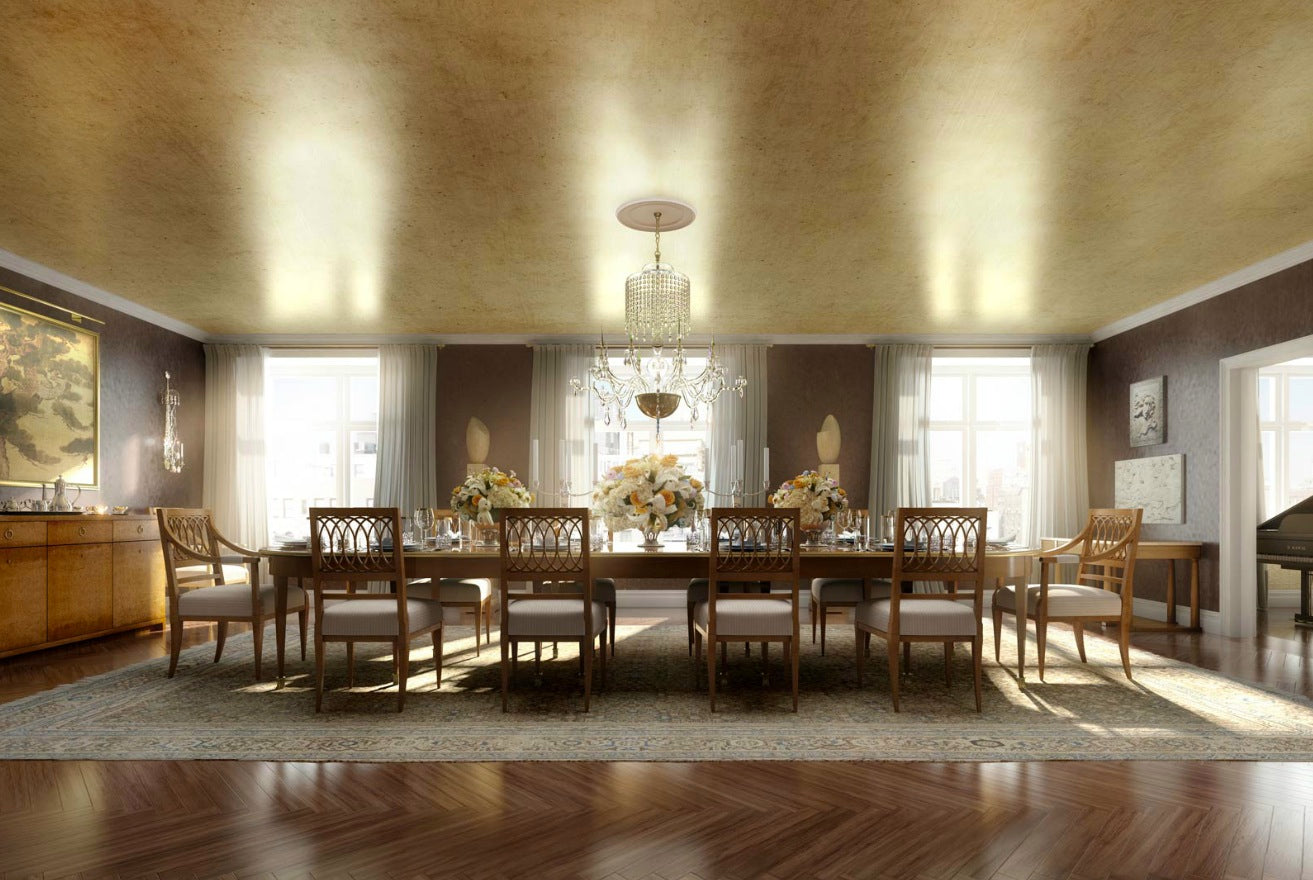 Classic luxury dining room, with lots of wood, beige, cream and gold