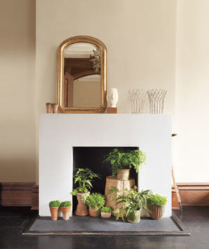 Cream and white fireplace with plants in the hearth
