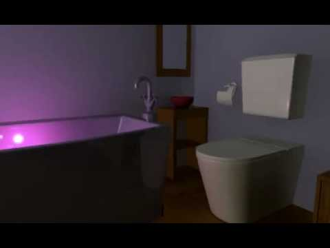 Dark bathroom with purple mood lighting within the bath tub