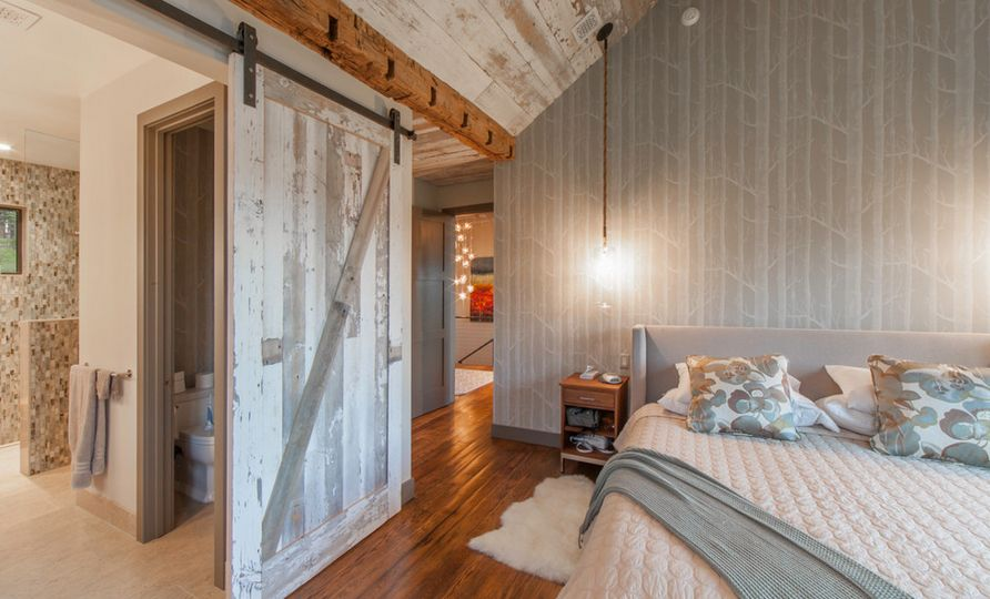 Bedroom-sliding-barn-door-and-birch-tree-wallpaper
