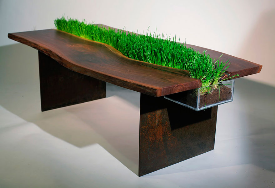 Wooden Table With Centre Section For Grass To Grow