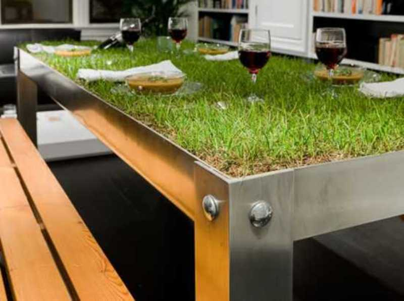 Metal Dining Table With Grass On The Top