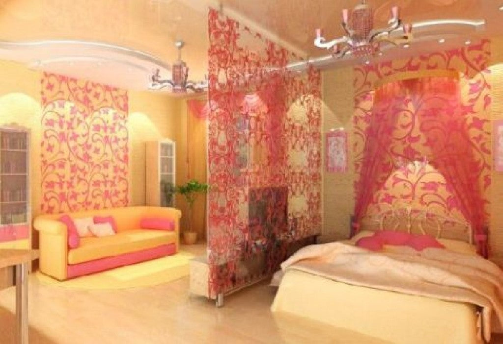 Swirling red floral patterns in a red and yellow bedroom