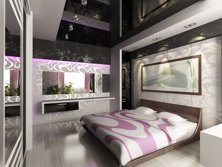 White, grey and solver bedroom with hints of pink and swirling patterns