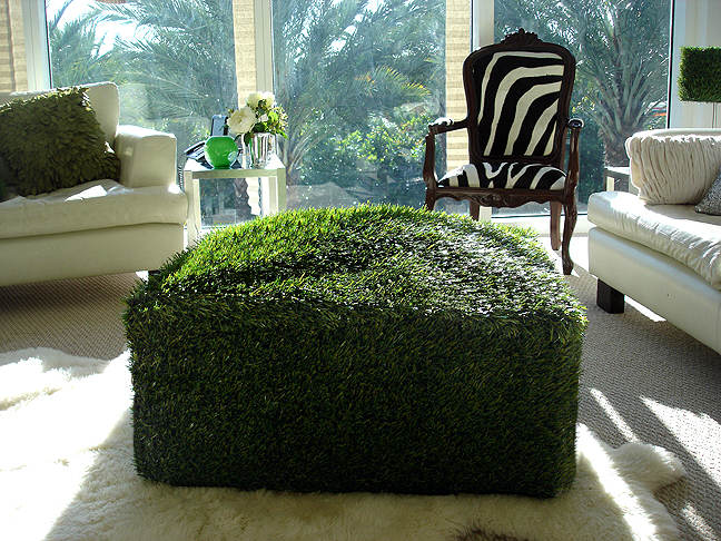 Grass Ottoman Inside A Living Room