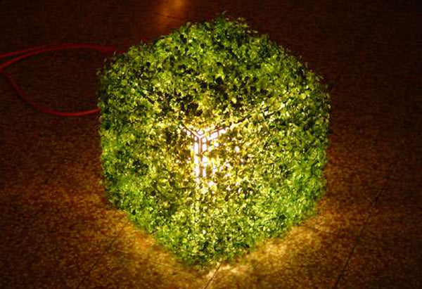 Grass Cube With Light On The Inside