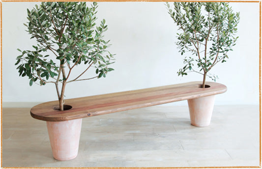 Wooden Bench With Legs Made From Two Tree Planters