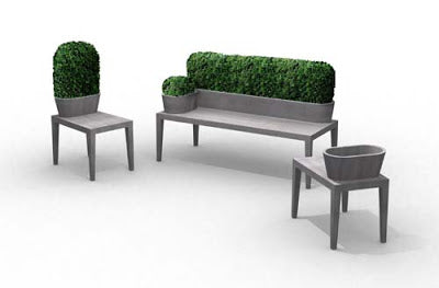 Grey Concrete Garden Furniture With Greenery Covered Backrest