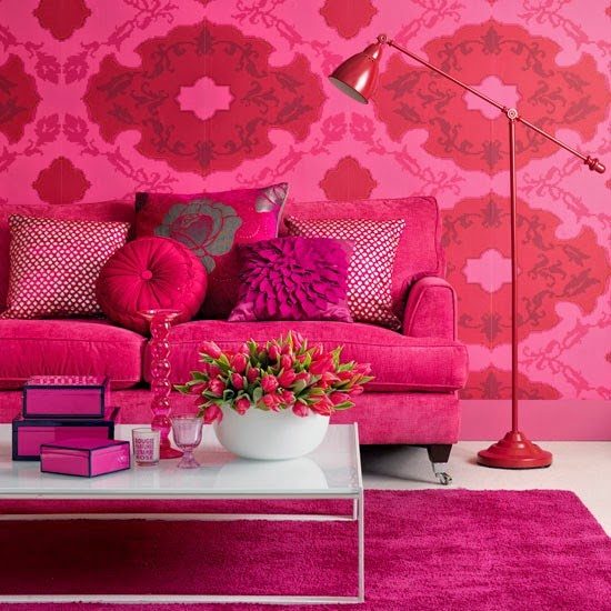 Dark pink living room with pink sofa, pink walls and pink rug