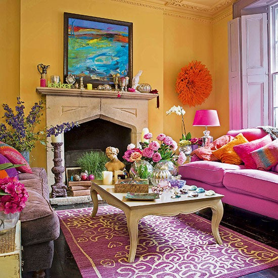 Yellow and bright pink living room