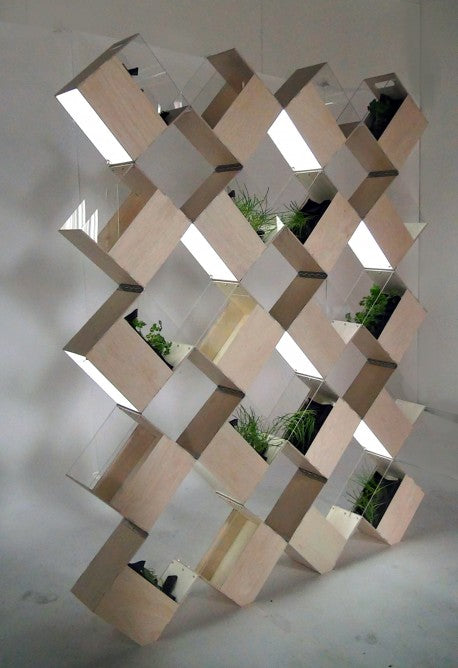 Square blocks stacked to create shelf storage in a checked pattern and layout