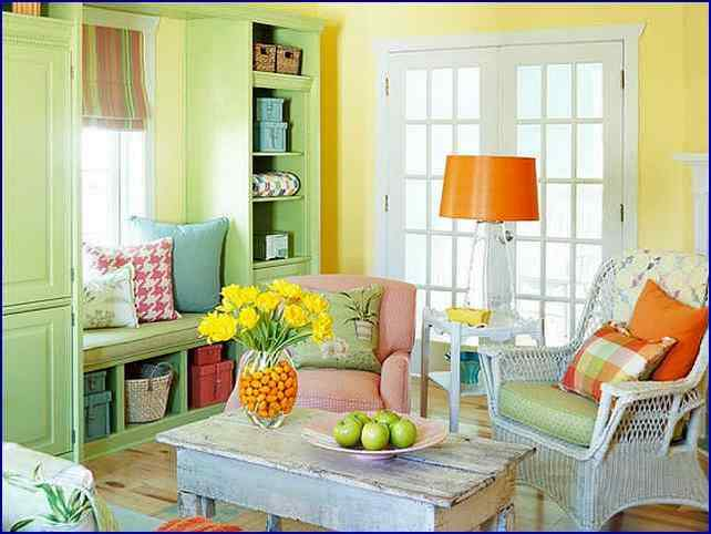 Light green and yellow living room, very fresh