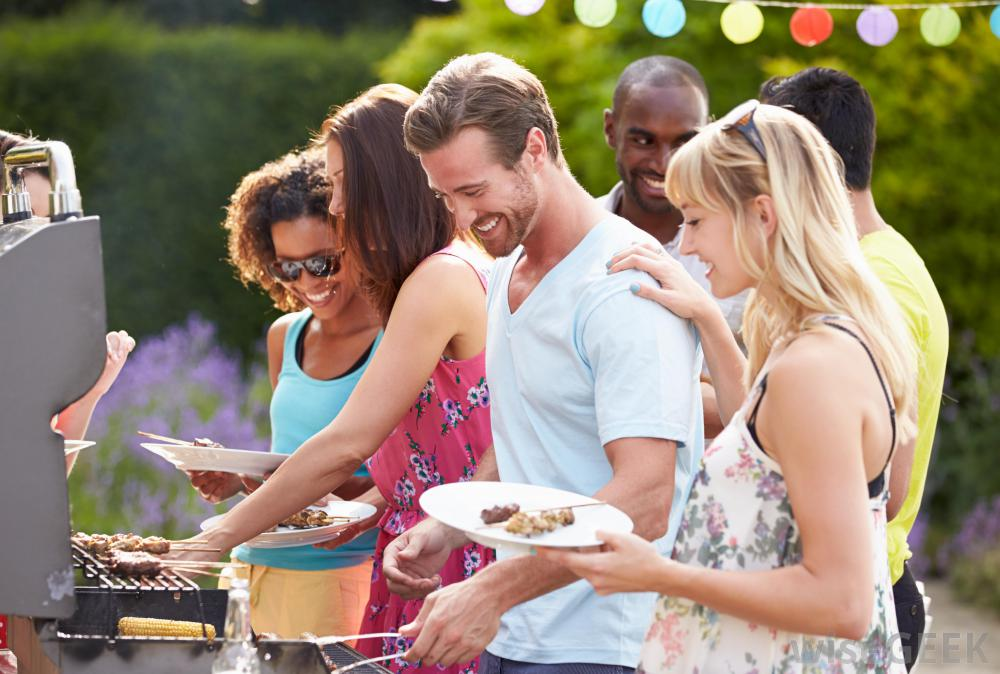 Group of friends having an outdoor barbeque