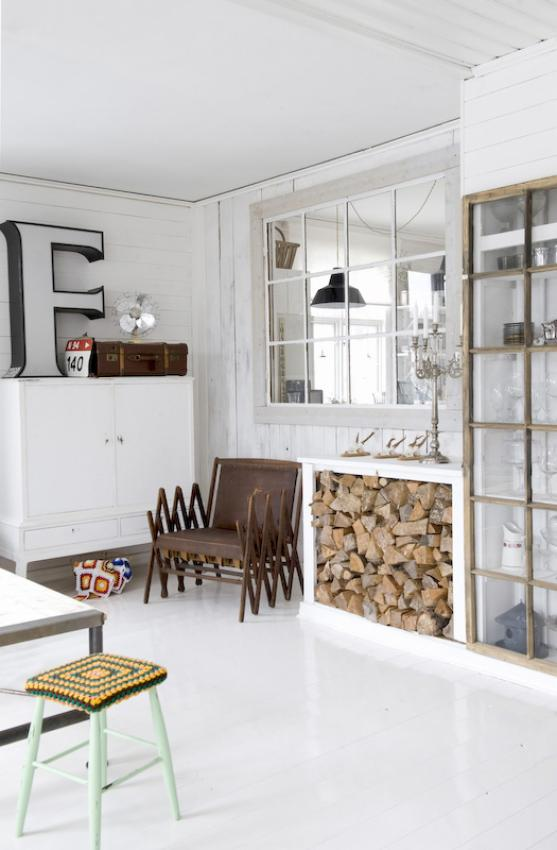 Industrial vintage white living space, resembles a kitchen