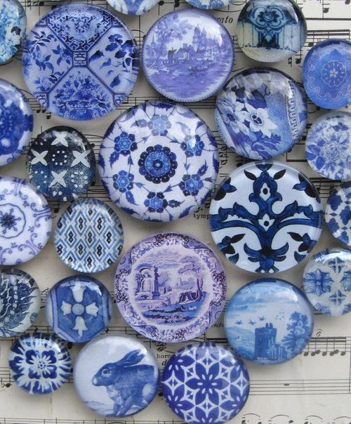 Series of blue and white circular accessories