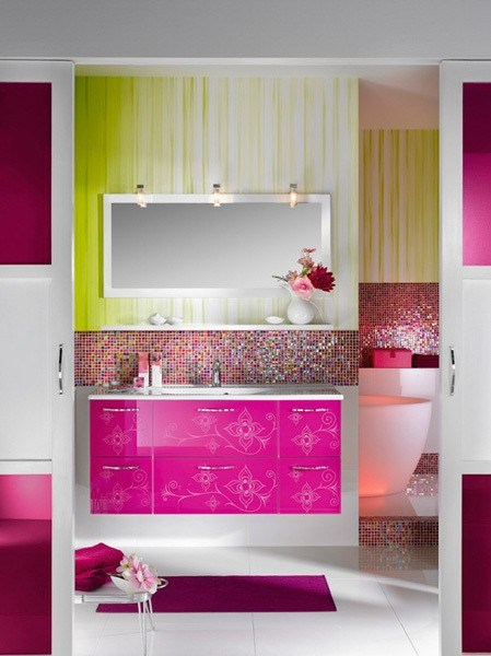White, green, pink and purple modern bathroom