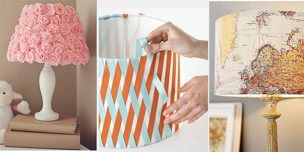 Three DIY lampshades using ribbons, pink paper and an old map