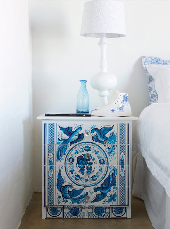 Blue and white bedside table decorated with birds and flowers, with white lamp on top