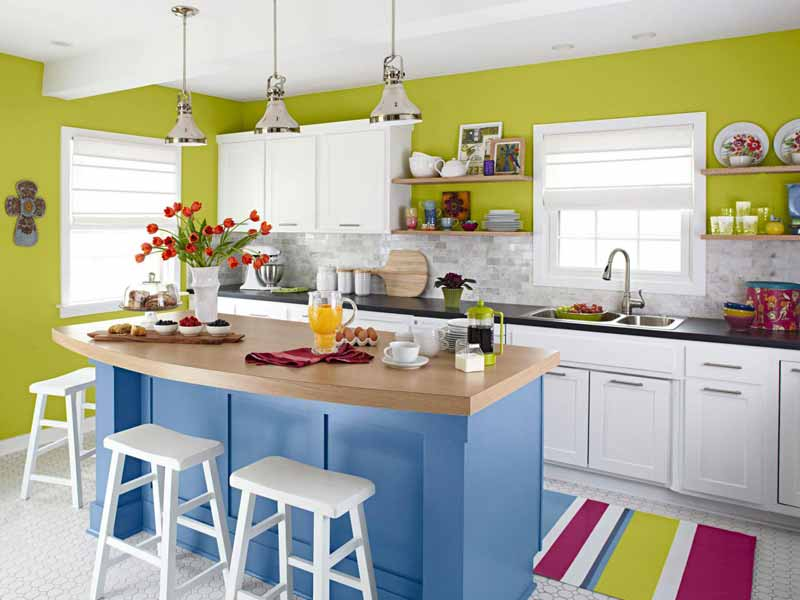 Fresh modern kitchen in light green, blue and white