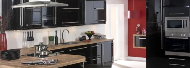Black and white kitchen, with black units and white walls